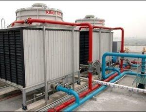 Lắp đặt hệ thống máy nén khí, tháp giải nhiệt